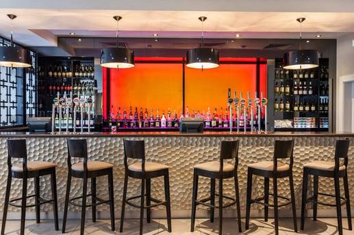 The modern bar at Hilton Garden Inn Heathrow.