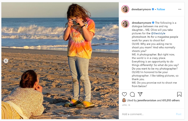 Drew Berrymore Instagram with daughter