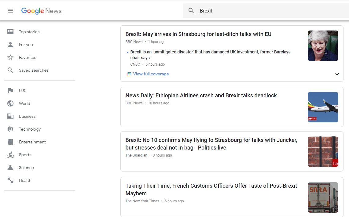 Google news snippets