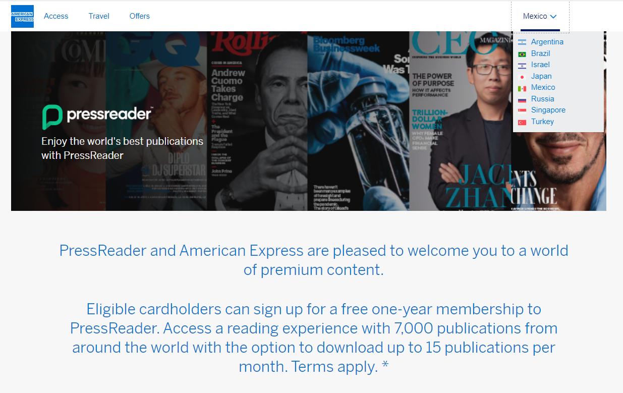 American Express and PressReader