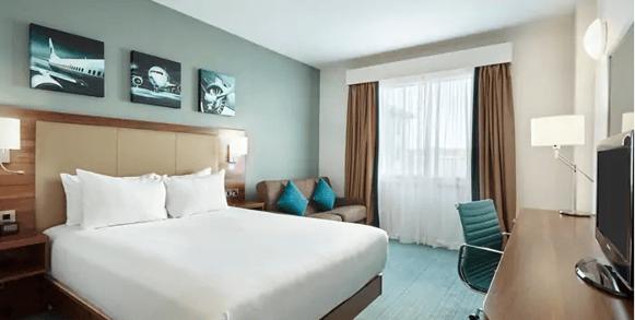 Guest bedroom at Hilton Garden Inn Heathrow Airport