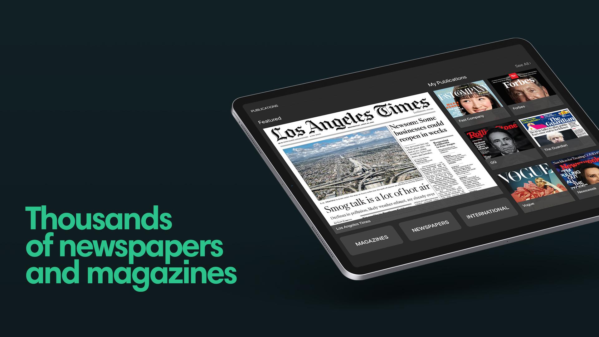 PressReader on iPad showing Los Angeles Times newspaper