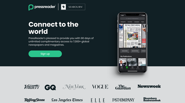 A PressReader and Seabourn co-branded landing page