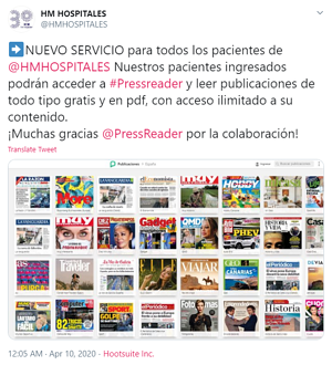 A tweet from HM Hospitales explaining the benefits of PressReader at their hospitals.
