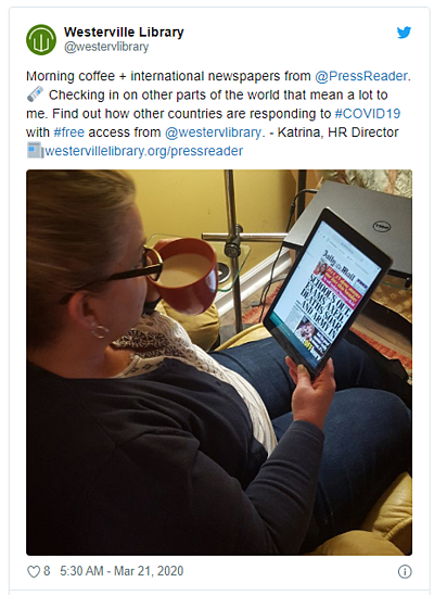 A tweet from Westerville Library explaining that their patrons can access international content