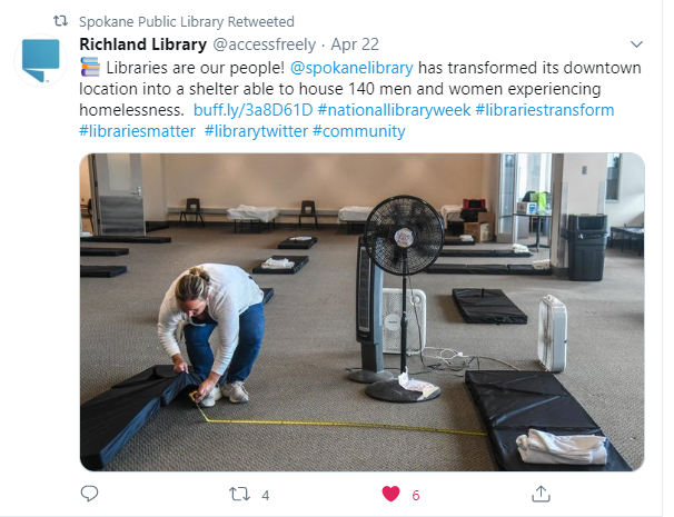 Spokane Public Library transformed into homeless shelter during COVID-19
