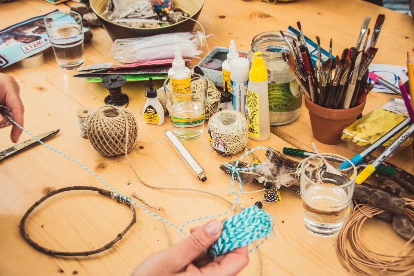 Table with hobby materials