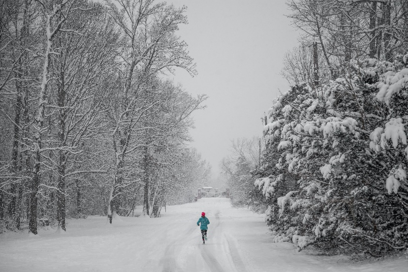 Person running in snow