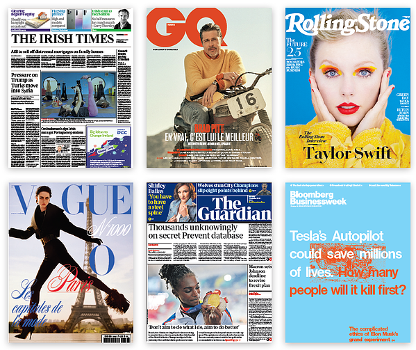 Covers from major newspapers and magazines like Rolling Stone, GQ, The Irish Times, Vogue, and Bloomberg Buisnessweek.