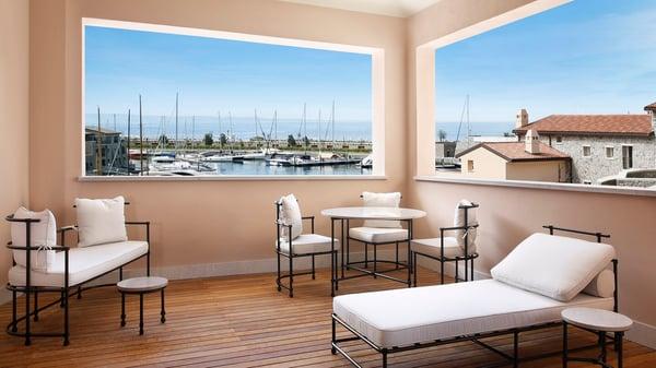 A terrace / balcony overlooking Portopicolo, Italy at Falisia Resort and Spa