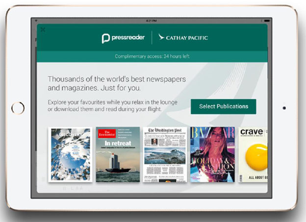 PressReader partnered with Cathay Pacific
