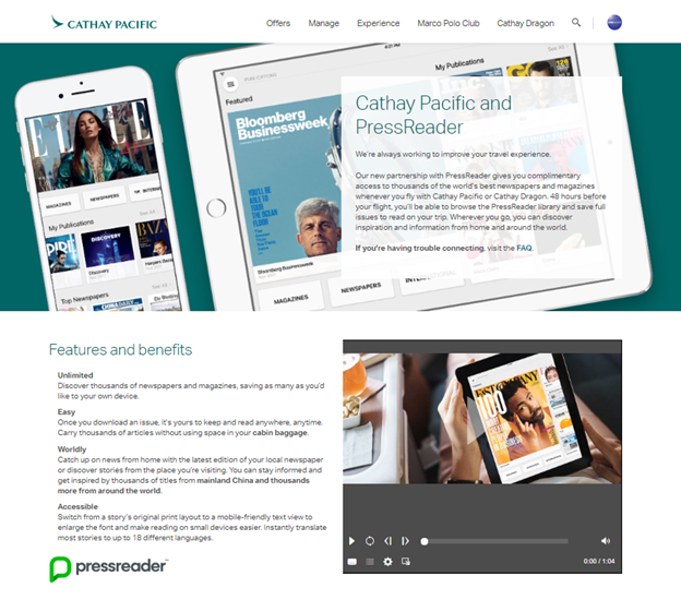 Cathay Pacific and PressReader